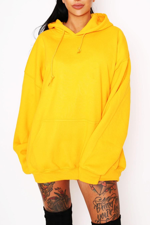 Sweat à capuche femme jaune
