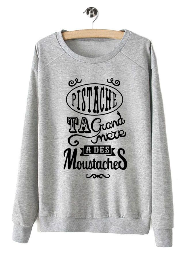 Sweat shirt moustache femme